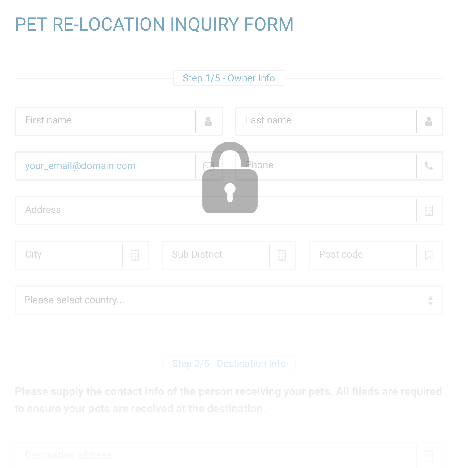 Relo4Paws inquiry form preview